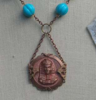 Vintage Egyptian King Pharaoh Revival Necklace Turquoise GLass Beads