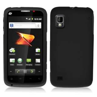 ZTE Warp N860 Boost Mobile Black Rubberized Hard Case Cover +Screen