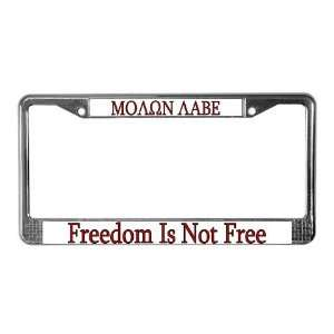 Molon Labe Gun control License Plate Frame by CafePress