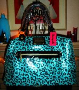 NWT Betsey Johnson Betseyville BLUE LEOPARD SEQUIN CARRY LUGGAGE