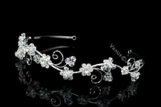 Bridal Rhinestones Crystal Flower Wedding Headband Tiara 5424