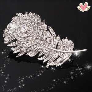 Charming Beautiful White Feather Rhinestone Brooch Pin Wedding Brooch