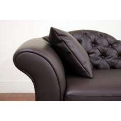 Josephine Brown Faux Leather Victorian Chaise Lounge Chair