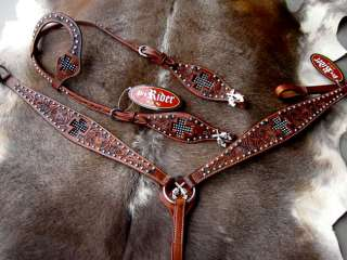 BRIDLE BREAST COLLAR WESTERN LEATHER HEADSTALL TACK CROSS GUN CRYSTALS