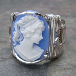 Acrylic Lady Cameo Sterling Silver Wire Wrapped Ring ANY size