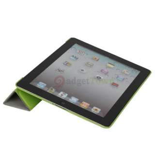 Slim Magnetic Leather Smart Cover + Hard Back Case for iPad 2 Green