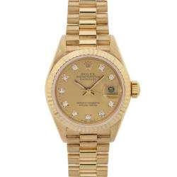 Womens Datejust President 18 Kt Gold Champagne Diamond Dial Watch