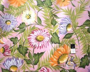 Donna Dewberry DD10 Daisies Butterfly Garden Pink Fabric By Yd
