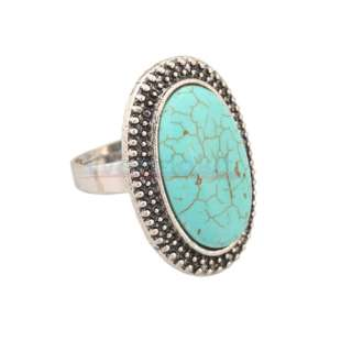 New Charming Fashion Small Oval Turquoise Adjustable Ring
