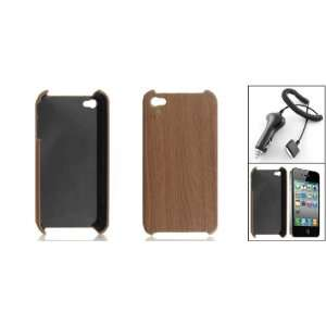 Gino Car Charger with Brown Wood Grain Printed Back Case