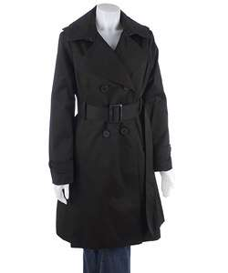 London Fog Womens Black Twill Trench Coat