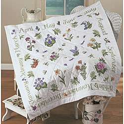 Year Of Flowers Stamped Cross Stitch Quilt Top Kit