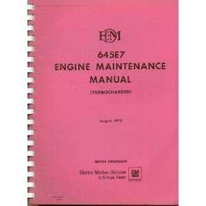 EDM 645E7 Engine Maintenance Manual (Turbo Charged
