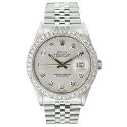 Mens Datejust White Gold Silver Diamond Dial Watch