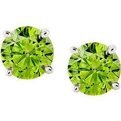 14k White Gold 1ct TCW Green Diamond Stud Earrings (I1)