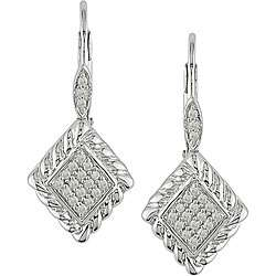Sterling Silver 1/5ct TDW Diamond Leverback Earrings