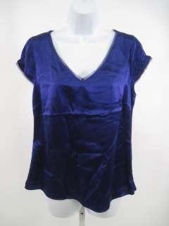 TAHARI Purple Silk Cap Sleeve Shirt Top Blouse Size M