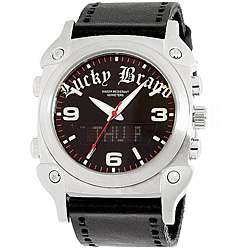 Lucky Brand Mens Black Leather Strap Digital Watch