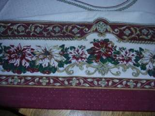 LOVELY LARGE CHRISTMAS CLASSIC POINSETTIA TABLECLOTH RECTANGLE fx