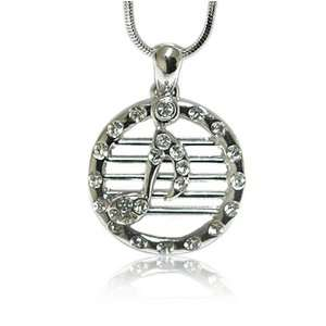 Crystal Music Note Round Pendant Necklace Fashion Jewelry