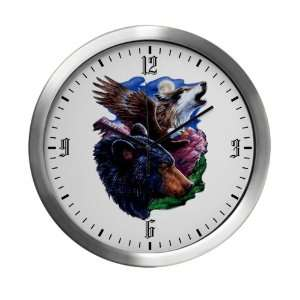 Modern Wall Clock Bear Bald Eagle and Wolf: Everything Else