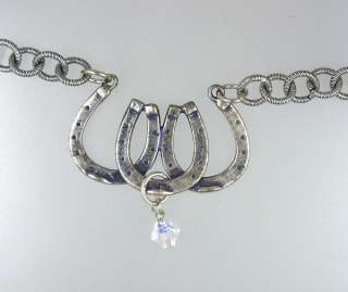 HORSESHOE Sterling SILVER Riding Charm Pendant NECKLACE