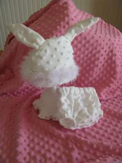 White Bunny Set   Cloth Diaper Cover & Bunny Hat