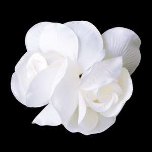 Double Tulip Rose Flower Hair Clip White or Ivory