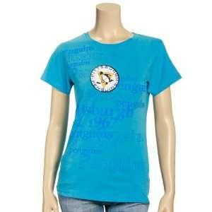Pittsburgh Penguins Ladies Blue Words T shirt