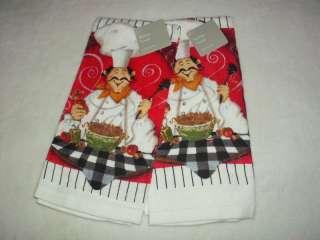 SET ITALIAN FAT CHEF KITCHEN TOWELS CLOTHS NWT