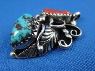 Native American STERLING Silver TURQUOISE & CORAL Pendant