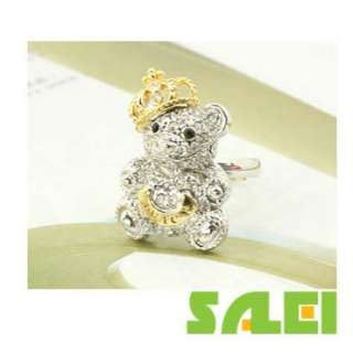 Korea Style Lovely Silver Gold Crown Bear Ring Gift Accessory