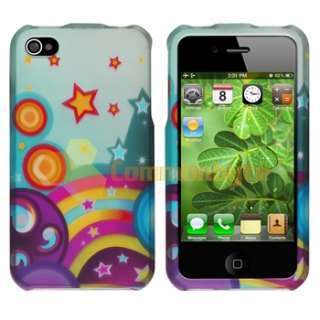 Yellow Cup Shape +White Rainbow Hard Case Cover For iPhone 4 4S