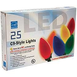 Good Tidings 21900 Light Set LED C9 25 Ceramic Multi Green Wire