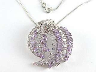Amethyst, Topaz Necklace 5.00ct 925 Sterling Silver 18 List $400