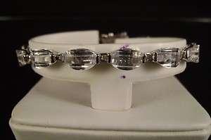 /Ladies 14K White Gold Finish White Diamond Simulated Tennis Bracelet