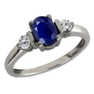 1.26 Ct Genuine Oval Blue Sapphire Gemstone 10k White Gold