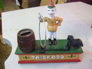 Rare Trick Dog Cast Iron Bank Works Great