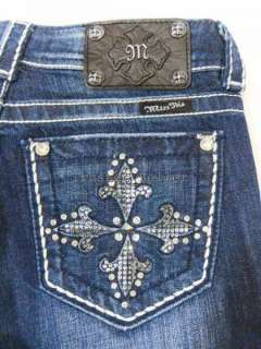 MISS ME Crystal Fleur de Cross Dark Blue Bootcut Jeans