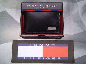 TOMMY HILFIGER METAL LOGO LEATHER BIFOLD WALLET BLACK