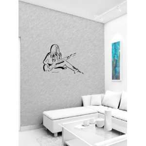 Girl Guitarist Music Wall Vinyl Sticker Decals Art Mural