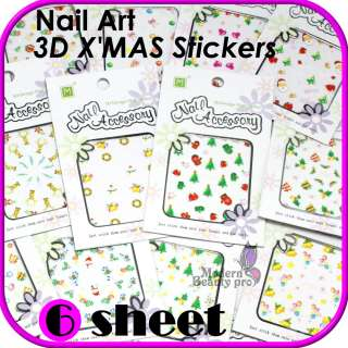 Sheet 3D Festival Christmas Cute Style Nail Art Tips XMAS Sticker Set