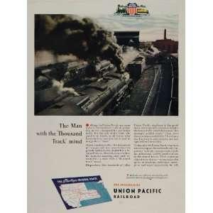 1944 Ad WWII Union Pacific Railroad Train Locomotive