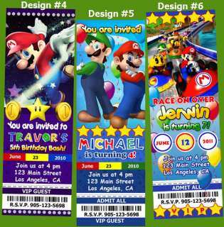 SUPER MARIO BROTHERS BIRTHDAY PARTY TICKET INVITATIONS