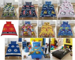 Reversible Kids Girls Boys Single Bed Duvet Quilt Cover Bedding Set