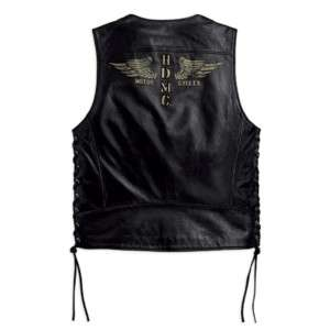 RareBlack Trek Harley Davidson Leather Vest 97197 10VM