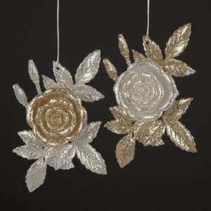 Pack of 24 Silver and Gold Glitter Rose Flower Christmas Ornaments 6