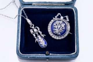 Antique Georgian Silver Diamond Paste Royal Blue Enamel Bow Pendant