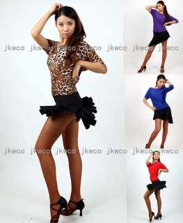 New latin salsa tango chacha ballroom dance dress top + skirt set