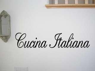 CUCINA ITALIANA Vinyl Wall Quote Decal Italian Kitchen